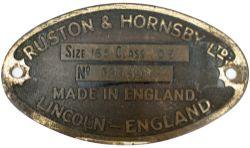 Worksplate RUSTON & HORNSBY LTD LINCOLN ENGLAND SIZE 165 CLASS DE No 395295 ex 0-4-0 DE numbered DE1