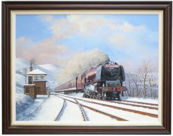 Original oil painting on canvas by Barry Price of Coronation 4-6-2 46245 CITY OF LONDON ON THE