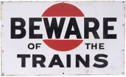 Bass Brewery enamel railway sign BEWARE OF THE TRAINS. Double sided measuring 24in x 14.5in. Both