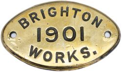 Worksplate BRIGHTON WORKS 1901 ex LBSCR Billington E4 0-6-2 T named Limpsfield and numbered 517,