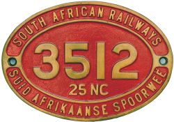 South African Railways brass cabside numberplate 3512 25NC ex 4-8-4 built by the North British
