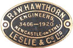 Worksplate R & W HAWTHORN, LESLIE & CO LTD ENGINEERS NEWCASTLE-ON-TYNE 3406 - 1920 ex Taff Vale