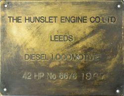 Worksplate THE HUNSLET ENGINE CO.LTD LEEDS Silksworth colliery Sunderland ex Hetton colliery