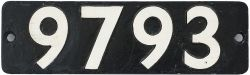 Smokebox numberplate 9793 ex Collett 0-6-0 PT built at Swindon in 1936. Allocated to Tyseley and 84J
