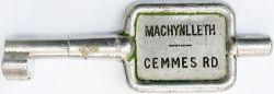 GWR/BR-W Tyers No9 single line aluminium key token MACHYNLLETH - CEMMES RD, configuration C. In ex