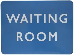 BR(SC) FF enamel railway sign WAITING ROOM measuring 24in x 18in. In very good condition with