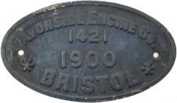 Worksplate AVONSIDE ENGINE CO BRISTOL 1421 1900 ex 0-6-0 ST originally built for and delivered to