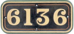 GWR cast iron cabside numberplate 6136 ex Collett 2-6-2 T built at Swindon in 1932. Allocations