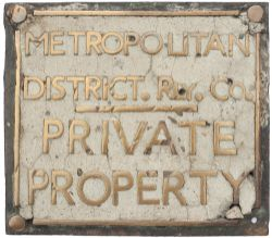 Met & District Pavement Boundary Metropolitan District Rly Co PRIVATE PROPERTY bronze pavement