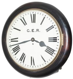 GER 16in ex Brentwood & Warley Great Eastern Railway 16 inch mahogany cased fusee railway clock.