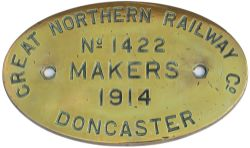 GNR Doncaster 1422 1914 ex 68896 Worksplate GREAT NORTHERN RAILWAY DONCASTER MAKERS No 1422 1914