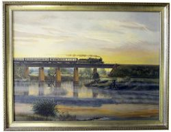 Backney Bridge Herefordshire, Freeman Original oil painting on board by Barry Freeman of GWR