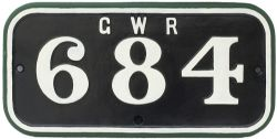 GWR 684 ex Cardiff Rly No 32 GWR cast iron cabside numberplate GWR 684 ex Cardiff Railway 0-6-0 T