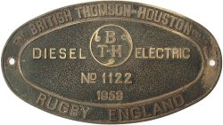 BTH 1122 1959 ex D8224 Worksplate THE BRITISH THOMSON HOUSTON CO LTD RUGBY ENGLAND DIESEL ELECTRIC