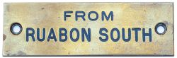 GWR From Ruabon South GWR machine engraved brass shelf plate FROM RUABON SOUTH. In very good