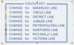 LT Line Colour Key London Transport Underground enamel sign showing the colour key for all eight