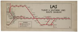 LMS LTSR Route Diagram Carriage print LMS TILBURY & SOUTHEND LINES ROUTE DIAGRAM. Drawn by George