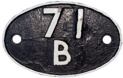 71B Shedplate 71B Bournemouth 1950-1963 with sub sheds Hamworthy Junction to 1954, Dorchester 1955-