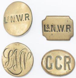x4 LNWR & GCR Railway Horse Brasses x4; L&NWR circular, LNW circular script, L&NWR rectangular,