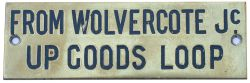 GWR From Wolvercote Jc GWR hand engraved brass shelf plate FROM WOLVERCOTE JC UP GOODS LOOP. In very