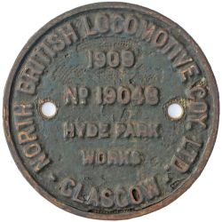 NBL 19048 1909 Works Worksplate NORTH BRITISH LOCOMOTIVE COY LTD GLASGOW HYDE PARK WORKS No 19048