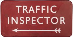 BR(M) FF Traffic Inspector BR(M) FF enamel station sign TRAFFIC INSPECTOR with left facing arrow.