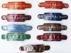 BR Totem badges x 9 A Collection of 9 BR Totem shaped cap badges to include;BRITISH RAILWAYS BR(
