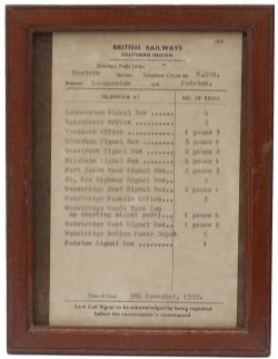 BR(S) Bell code Launceston-Padstow British Railways Southern Region signal box bell code notice