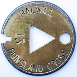Halwill-Dunsland Cross Tyers No6 brass and steel single line tablet HALWILL - DUNSLAND CROSS ex L&