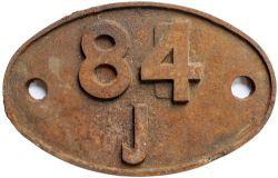 84J Shedplate 84J Croes Newydd 1950-1961 with sub sheds Bala, Penmaenpool and Trawsfynydd. Face