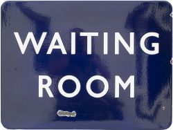 BR(E) FF Waiting Room BR(E) FF enamel railway sign WAITING ROOM measuring 24in x 18in. In very