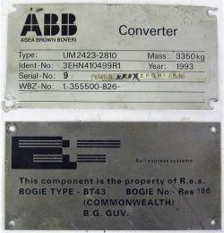 2 x Diesel Metal Plates. BOGIE BT 43 and RES 186 Converter.