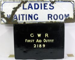 GWR pre grouping enamel door plate. LADIES WAITING ROOM requiring some restoration together with a