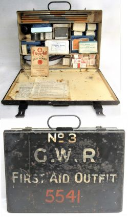 GWR No 3 1st Aid Box No 5541 complete with contents but mostly BR items. Recovered from Marston West
