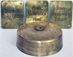 3 x Midland Railway brass lever plates. Down Passenger Distant, Down Passenger Home and Disc from