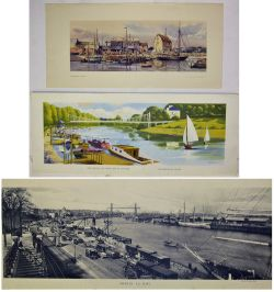 3 Unframed carriage prints. THE GROVES and RIVER DEE by Lander together with WOODBRIDGE IN SUFFOLK