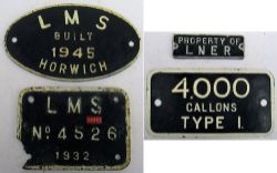 LMS Worksplate. BUILT 1945 HORWICH, LMS letters ground off. LMS cast iron tender plate 4526 ex 42957
