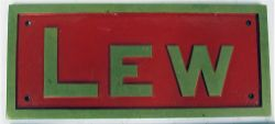 Reproduction brass name plate LEW. The original Loco was used on the Lynton & Barnstaple Rly.