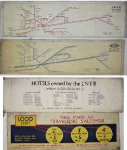 4 x Original Loose Carriage Prints. LNER MAP OF GREAT EASTERN SUBURBAN LINES. LNER Winking Eye MAP