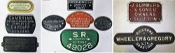 9 x Wagon Plates to include SR STANDARD 12 TONS 49028. WAGON REPAIRS LTD REPARCO WORKS SALTNEY