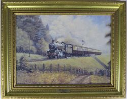 Framed print by Chris Woods. OLD ACQUANTANCES. A delightful picture showing 5946 passing the