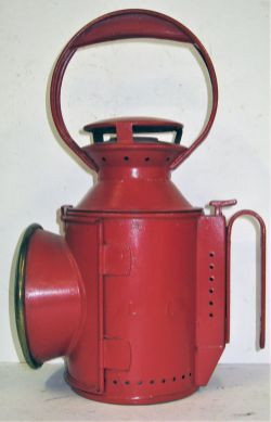 London Transport Handlamp. Complete with copper reservoir, burner and colour glasses embossed on
