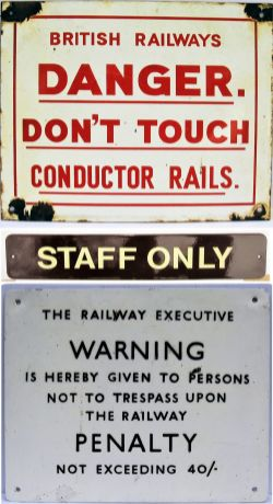 British Railways enamel warning sign. DANGER. DON'T TOUCH CONDUCTOR RAILS. Reproduction enamel WR