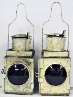 2 x BR Tail lamps. One stamped BR(W) Complete with reservoir and burner, the other embossed BR minus