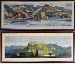 2 x Framed and glazed carriage prints. EILEAN DONAN CASTLE by Kenneth Steele together with BEN NEVIS