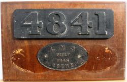 LMS Wooden pattern used to cast Smokebox number plate 4841 together with the worksplate removed from