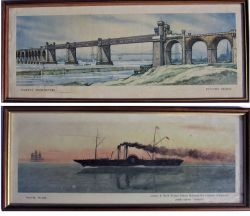 2 x Framed and glazed carriage prints. RAILWAY ARHCHITECTURE RUNCORN BRIDGE together with TRAVEL