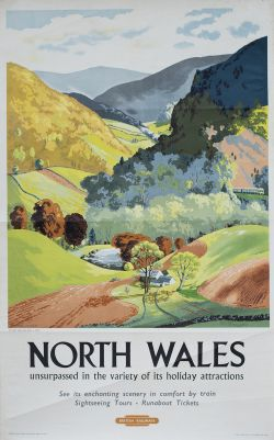 Poster BR(M) NORTH WALES THE LLEDR VALLEY NEAR BETWS-Y-COED by Daphne Padden. Double Royal 25in x
