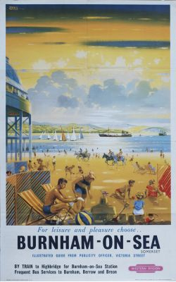 Poster BR(W) BURNHAM-ON-SEA by John S. Smith. Double Royal 25in x 40in. In very good condition,
