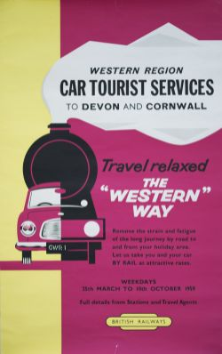 Poster BR(W) WESTERN REGION CAR TOURIST SERVICES TO DEVON AND CORNWALL issued by the Western